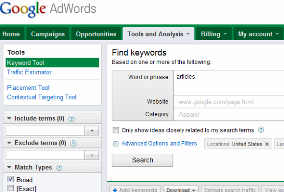 Researching AdWords